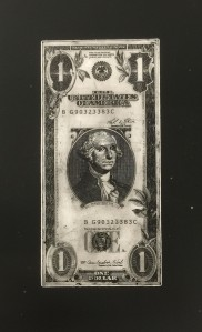 Vertical one dollar bill